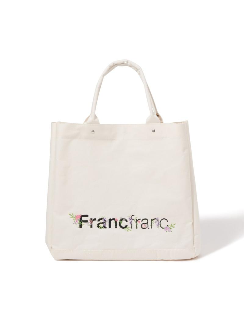 Francfranc ユニセックス 新作販売 バッグ フランフラン 驚きの値段 ロゴ トートバッグ ベージュ L フラワー刺繍