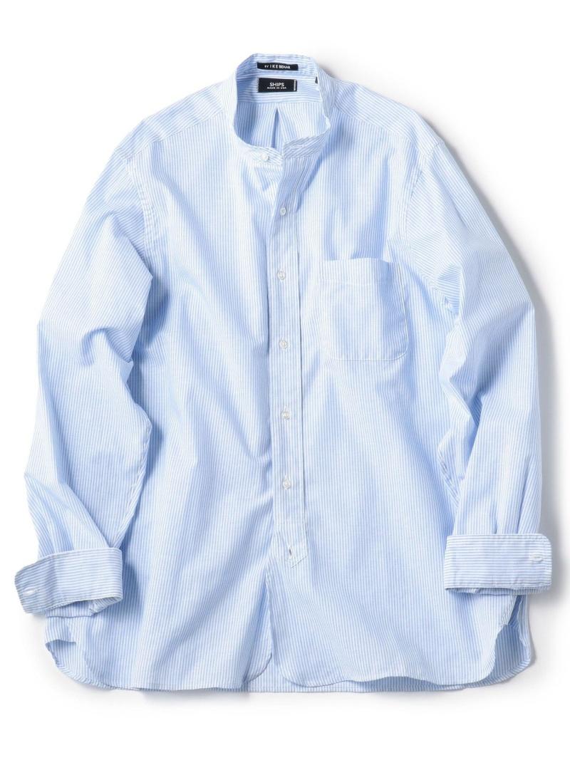SHIPS 【Begin5月号掲載】SHIPS×IKEBEHARアメリカ製コットン/リネンバンドカラーシャツ シップス シャツ/ブラウス 長袖シャツ ブルー ネイビー【送料無料】