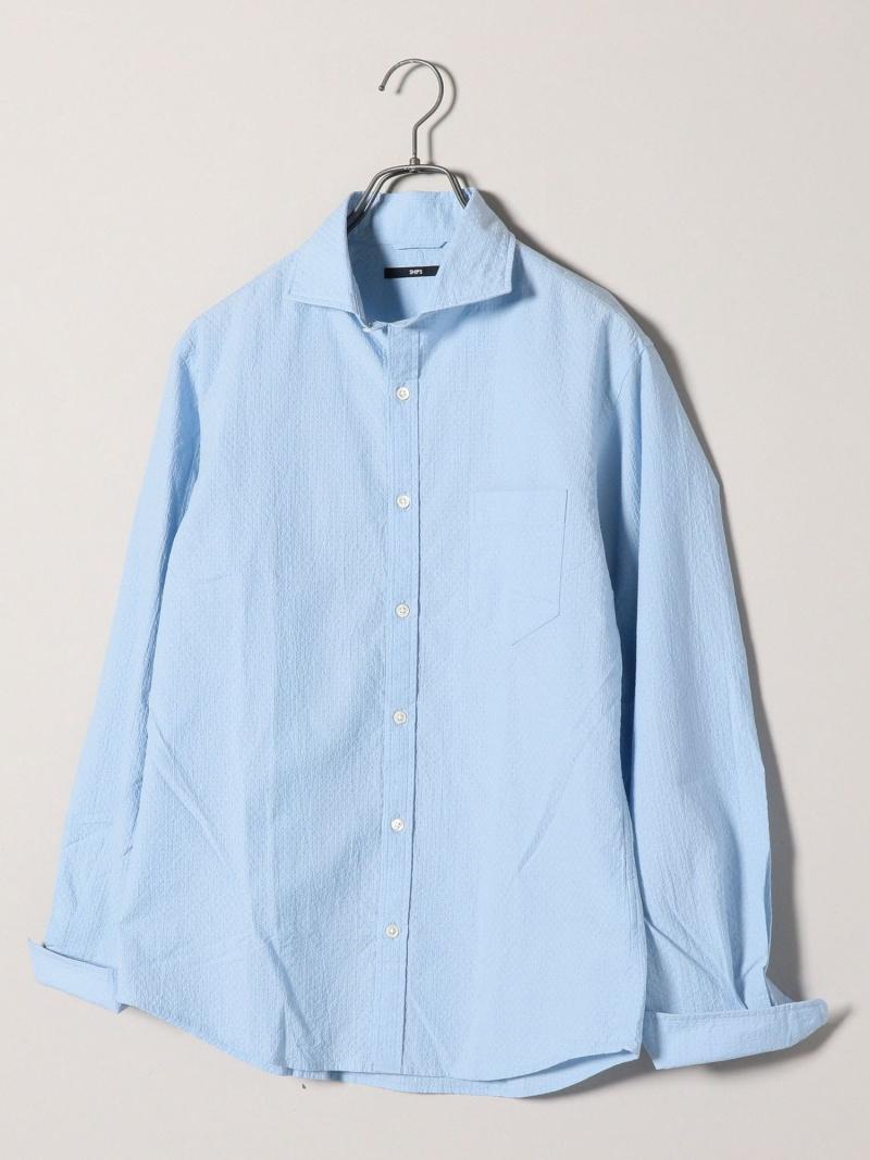 SHIPS SC:NEWドットクロスセミワイドカラーシャツ シップス シャツ/ブラウス 長袖シャツ ブルー ホワイト ネイビー【送料無料】