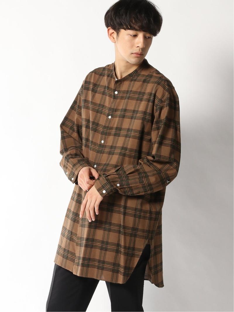 EDIFICE LA BOUCLE バンドカラービッグシャツ チェック エディフィス シャツ/ブラウス 長袖シャツ ブラウン【送料無料】