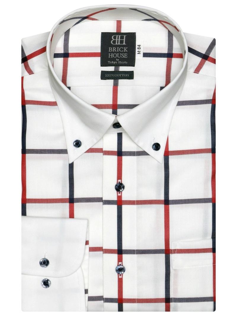 【SALE/25%OFF】BRICK HOUSE by Tokyo Shirt 形態安定 ノーアイロン 長袖ワイシャツ クレリック ボタンダウン 白×ネイビー、レッドチェック 標準体 ブリックハウスバイトウキョウシャツ シャツ/ブラウス ワイシャ【RBA_E】: Fashion Men