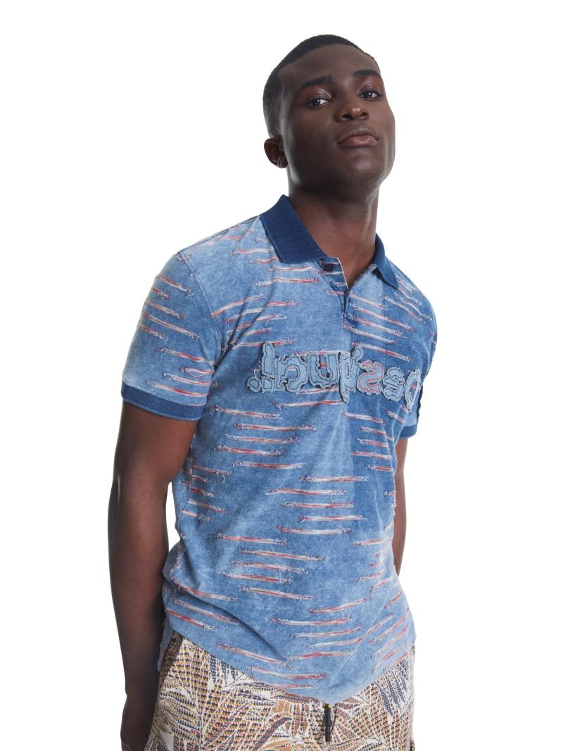 Desigual ポロシャツ半袖 BEAU デシグアル カットソー ポロシャツ ネイビー【送料無料】