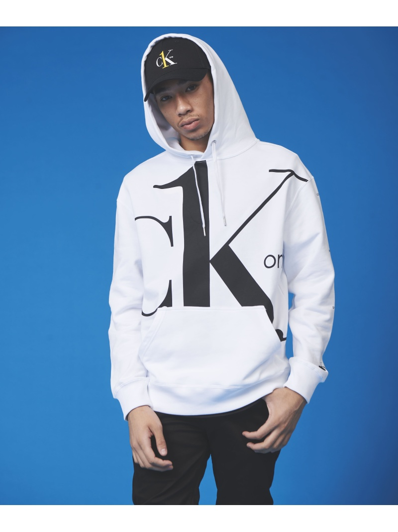 Calvin Klein Jeans CALVIN KLEIN 【カルバン クライン ジーンズ】 CK ONE ビッグ ロゴ レギュラー パーカー J315850 カルバン・クライン カットソー パーカー ホワイト【送料無料】