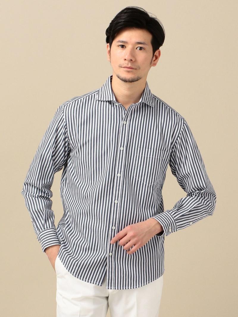 SHIPS SC:NEWドビーストライプセミワイドカラーシャツ シップス シャツ/ブラウス 長袖シャツ ネイビー ブルー【送料無料】