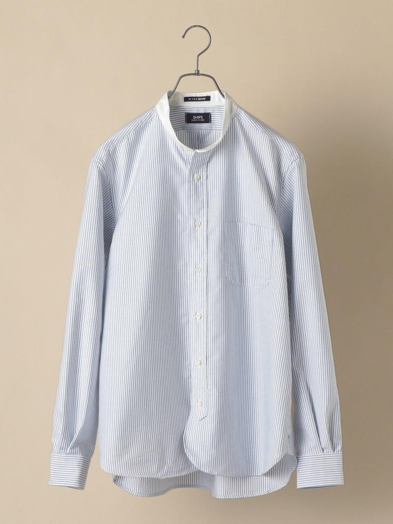 SHIPS SHIPS×IKEBEHAR:アメリカ製オックスフォードクレリックバンドカラーシャツ シップス シャツ/ブラウス 長袖シャツ ブルー【送料無料】