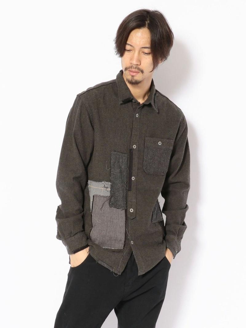 UNCUT BOUND Rinajour(リナジュール)ネルパッチワークシャツ アンカットバウンド シャツ/ブラウス 長袖シャツ ベージュ【送料無料】