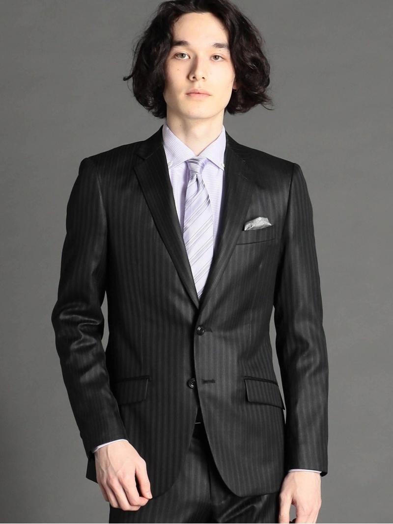 MONSIEUR NICOLE ストライプ柄2つボタンスーツ ニコル ビジネス/フォーマル スーツ ブラック ブルー【送料無料】