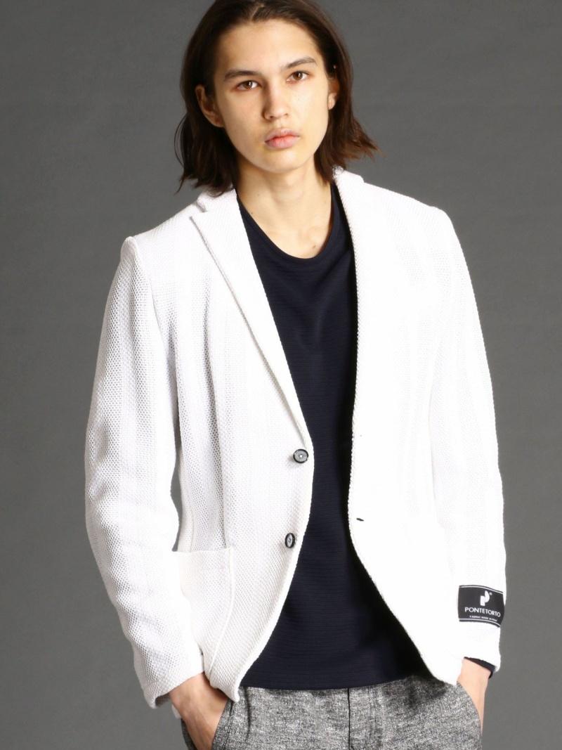 MONSIEUR NICOLE ストライプ柄ニットライクジャケット ニコル パンツ/ジーンズ パンツその他 ホワイト ネイビー レッド【送料無料】