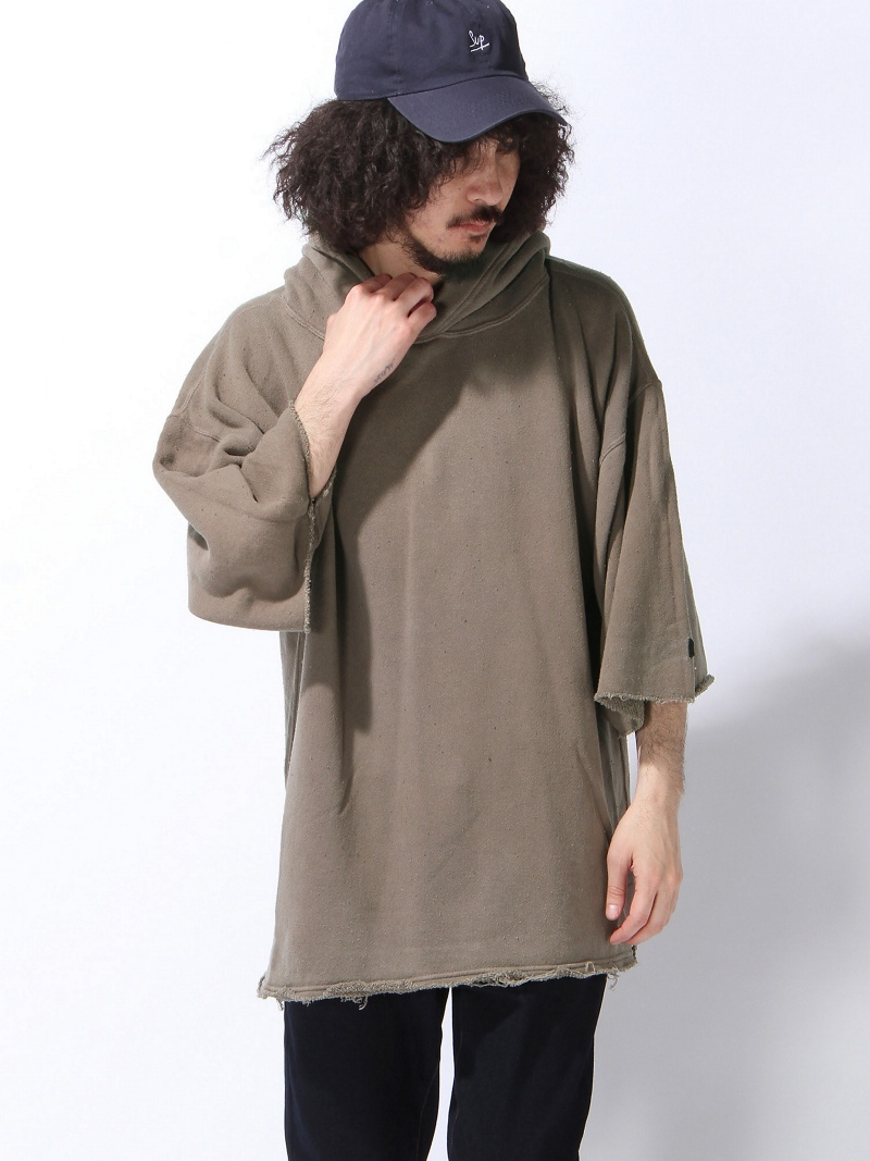 【SALE/32%OFF】VOTE MAKE NEW CLOTHES WIDE SLEEVE HARF HOODIE ヴォート メイク ニュー クローズ カットソー スウェット ブラウン ブラック【RBA_E】【送料無料】