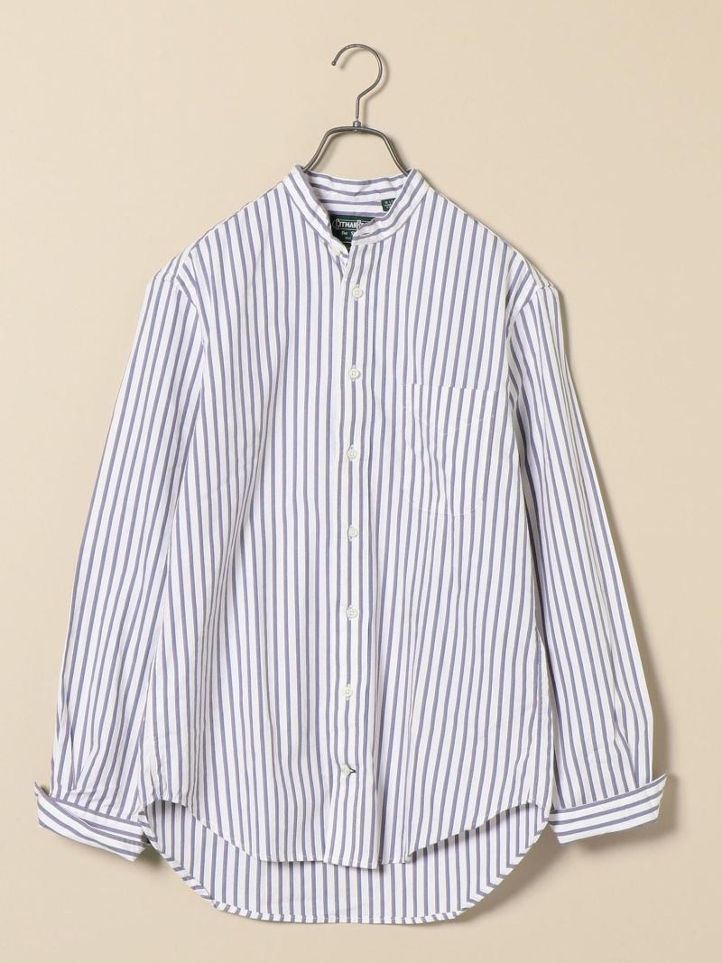 SHIPS 【Begin6月号掲載】GITMANVINTAGE:別注ストライプバンドカラーシャツ シップス シャツ/ブラウス 長袖シャツ ホワイト レッド ブルー【送料無料】