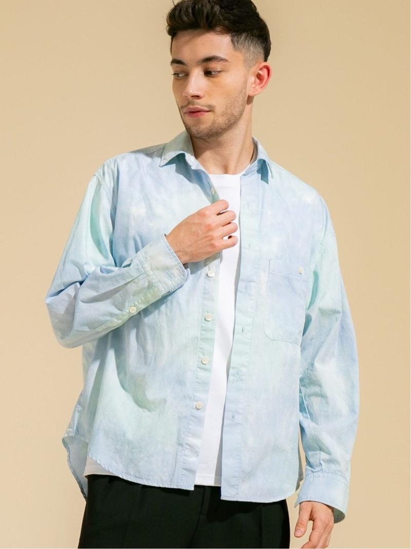 PUBLIC TOKYO シルク混ハンドタイダイシャツ パブリックトウキョウ シャツ/ブラウス シャツ/ブラウスその他 ブルー【先行予約】*【送料無料】