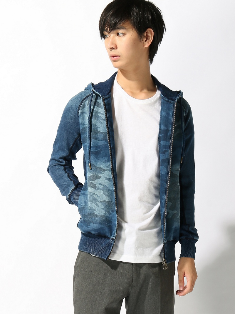 【SALE/10%OFF】1PIU1UGUALE3 RELAX TETE HOMME/(M)【1PIU1UGUALE3 RELAX】ジョグデニムカモフラフードパーカー テットオム カットソー【RBA_S】【RBA_E】【送料無料】