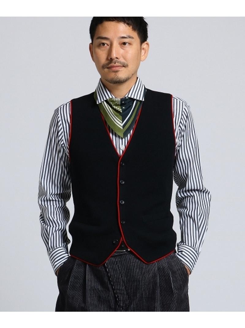 【SALE/50%OFF】TAKEO KIKUCHI 【PNJ】パイピングニットベスト[メンズベスト] タケオキクチ コート/ジャケット ベスト ブラック ブラウン【RBA_E】【送料無料】