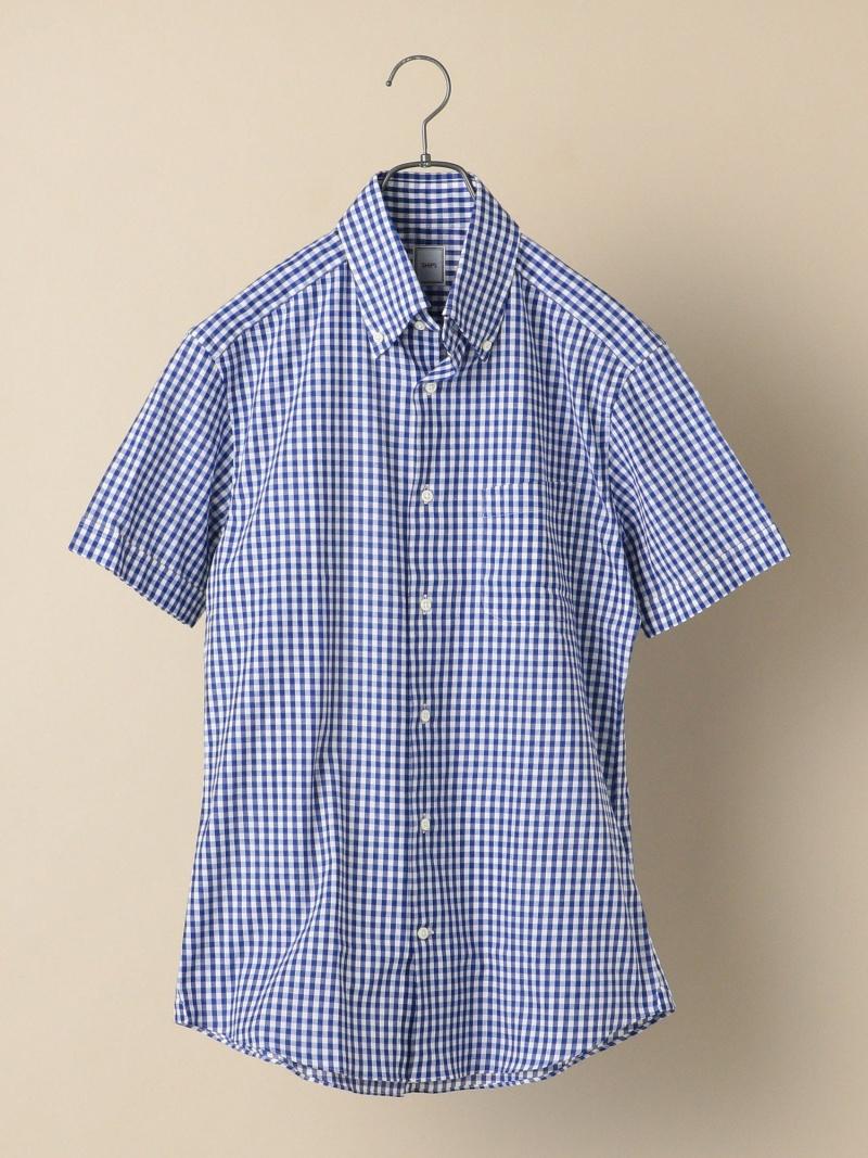 SHIPS SD:アイスコットンカラミギンガムチェックショートスリーブシャツ シップス シャツ/ブラウス 長袖シャツ ブルー【先行予約】*【送料無料】