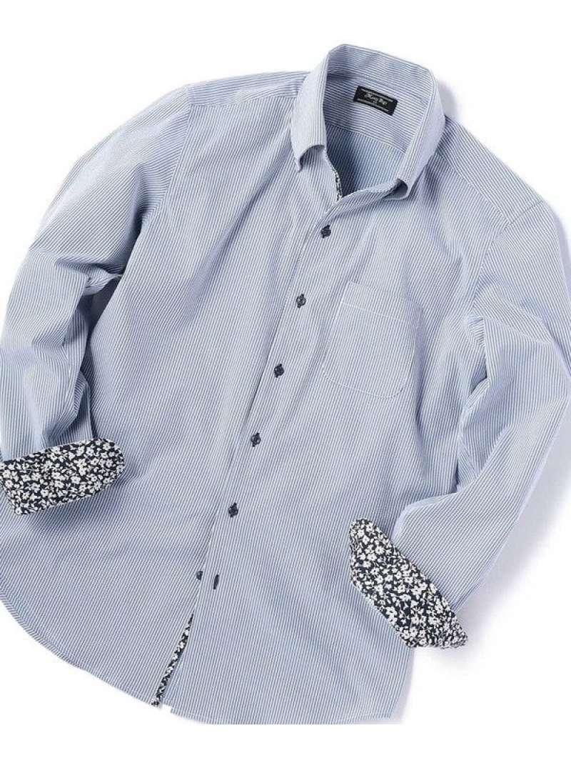 MEN'S BIGI 【ストレッチ/ウォッシャブル】EVALETサッカーストライプシャツ メンズ ビギ シャツ/ブラウス 長袖シャツ ブルー ネイビー【送料無料】