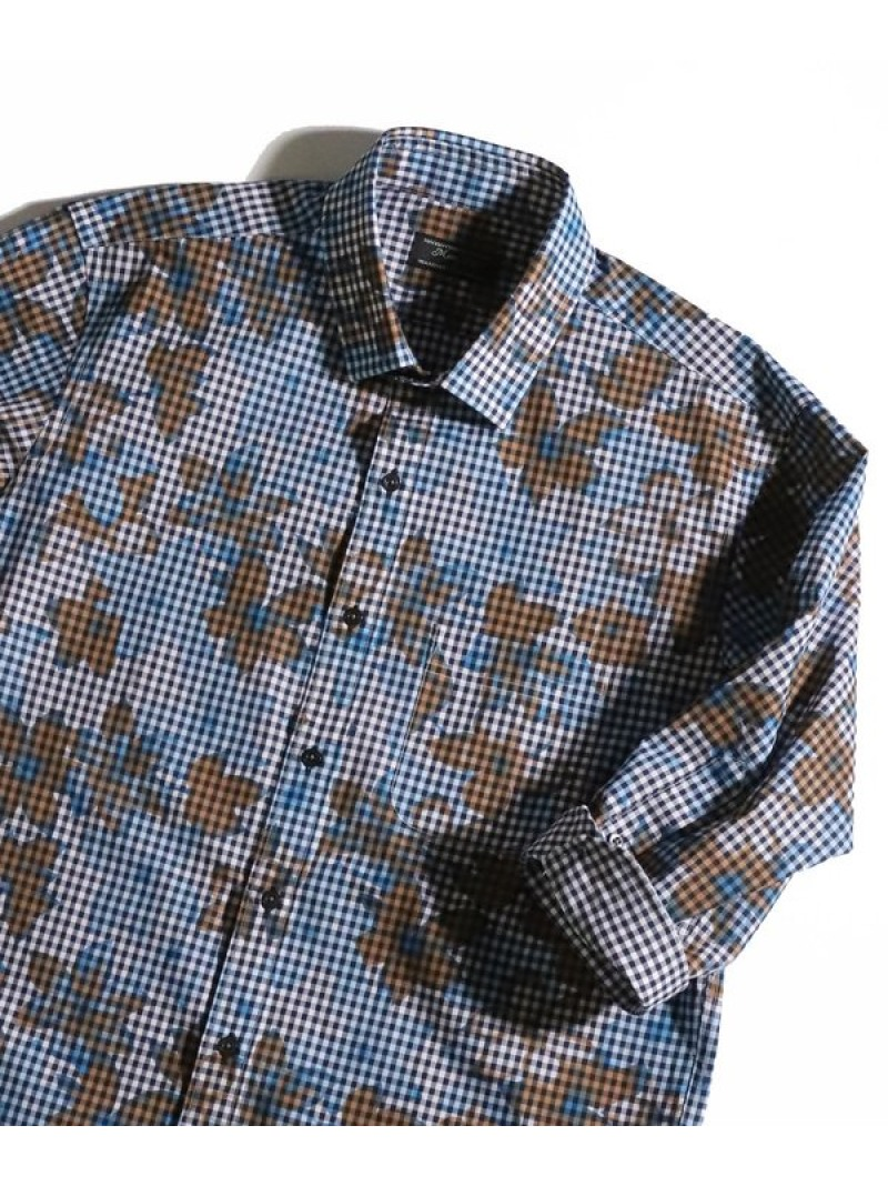 ギンガムフラワーシャツ7分袖 メンズ ビギ シャツ/ブラウス【送料無料】