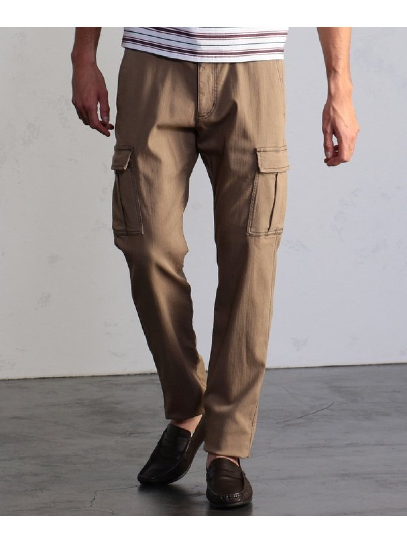 MEN'S BIGI ハイパワーストレッチヘリンボーンカーゴパンツ メンズ ビギ パンツ/ジーンズ フルレングス ベージュ カーキ【送料無料】