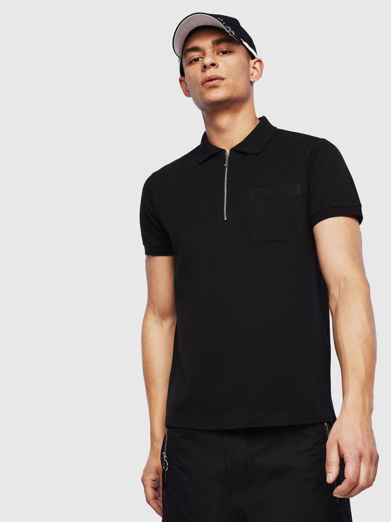 【SALE/40%OFF】DIESEL T-DERIX ディーゼル カットソー ポロシャツ ブラック【RBA_E】【送料無料】