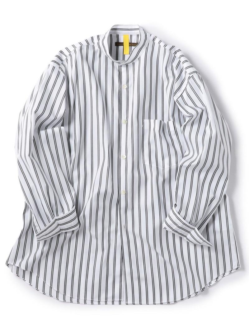SHIPS BENCHMARKINGSHIRTS:バンドカラーストライプシャツ シップス シャツ/ブラウス 長袖シャツ ホワイト【送料無料】