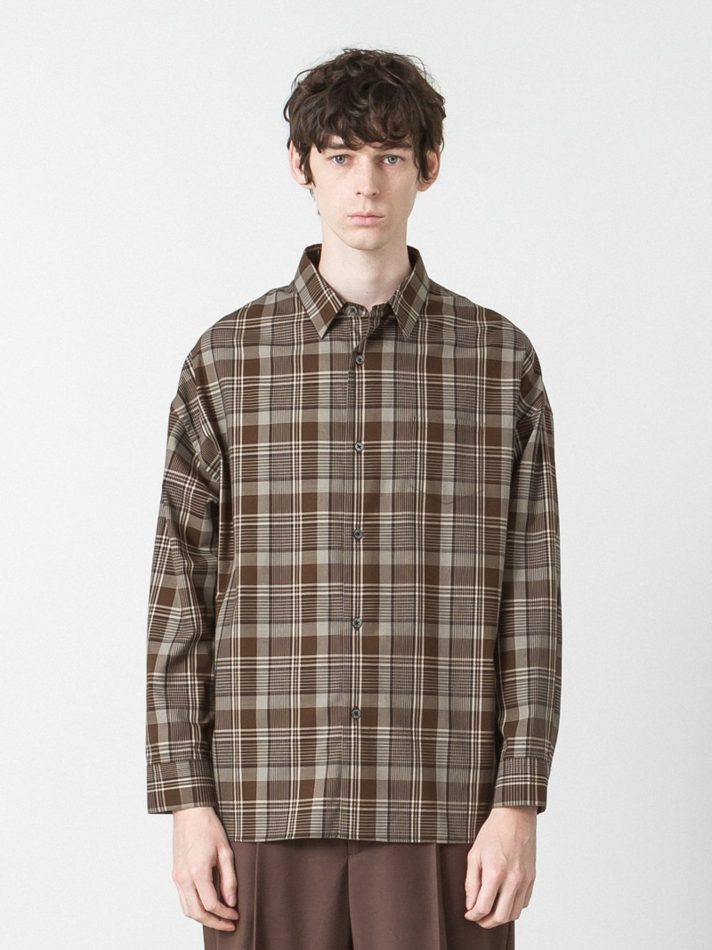 SLICK タータンチェックシャツドロップショルダーシャツ スリック シャツ/ブラウス 長袖シャツ ブラウン ブルー ベージュ【送料無料】