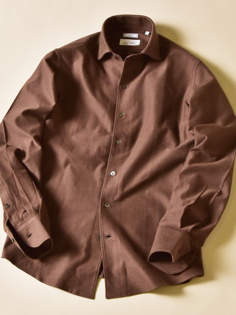 SHIPS SD:ALBINI社製生地 ジャージー ワンピースカラー ネルシャツ シップス シャツ/ブラウス シャツ/ブラウスその他 ブラウン ブルー【先行予約】*【送料無料】