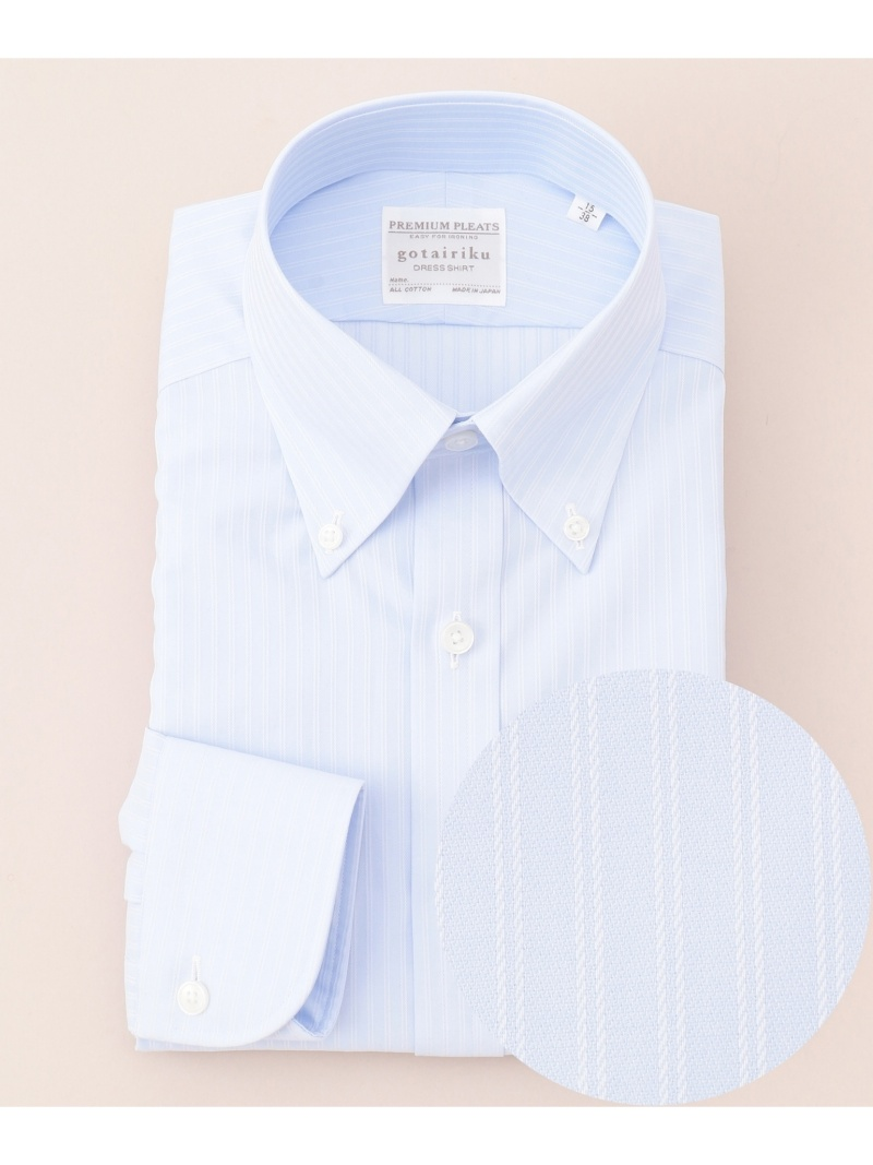 gotairiku プレミアムプリーツ ドレスシャツ ボタンダウン ゴタイリク シャツ/ブラウス【送料無料】