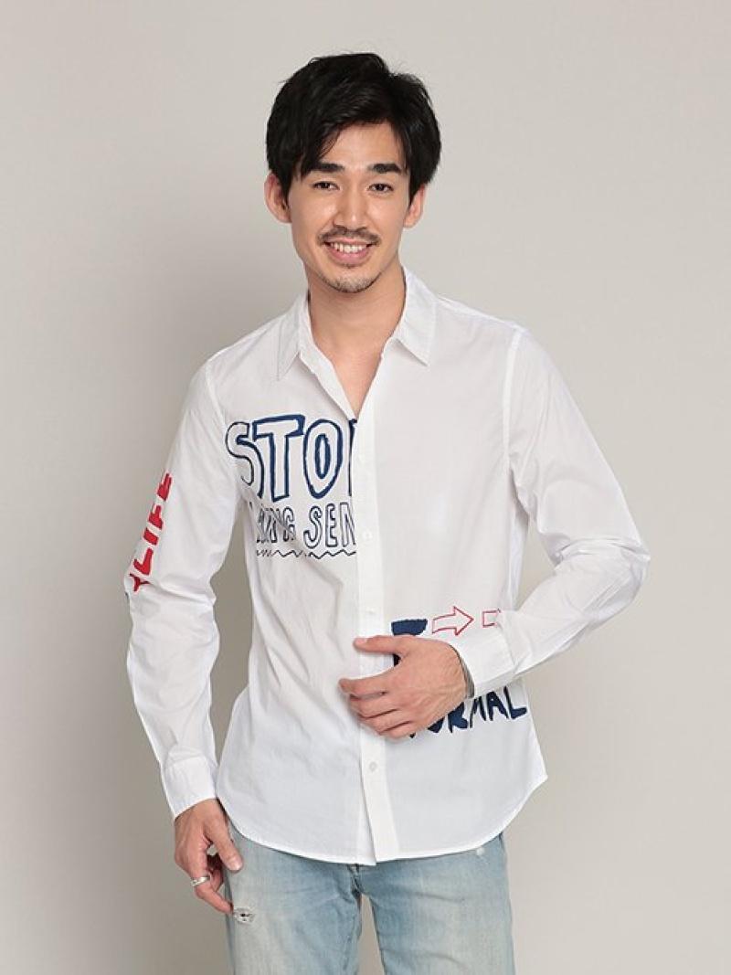 Desigual シャツ長袖 KING/レギュラーフィットペイントレタリングシャツ デシグアル シャツ/ブラウス 長袖シャツ ホワイト【送料無料】