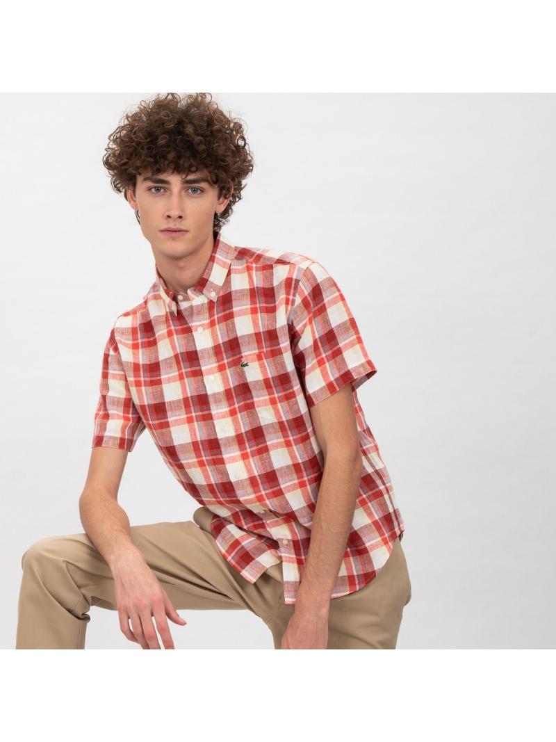 LACOSTE リネンチェックボタンダウンシャツ ラコステ シャツ/ブラウス【送料無料】