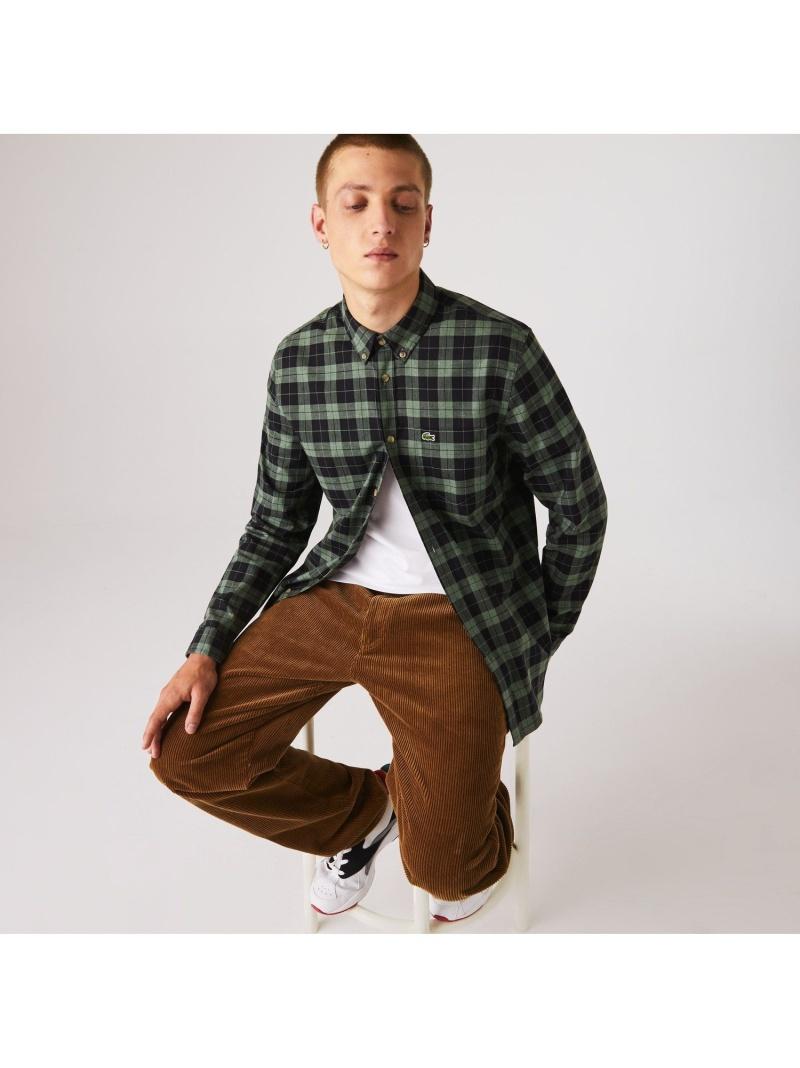 LACOSTE コットンツイルチェックボタンダウンシャツ ラコステ シャツ/ブラウス 長袖シャツ【送料無料】
