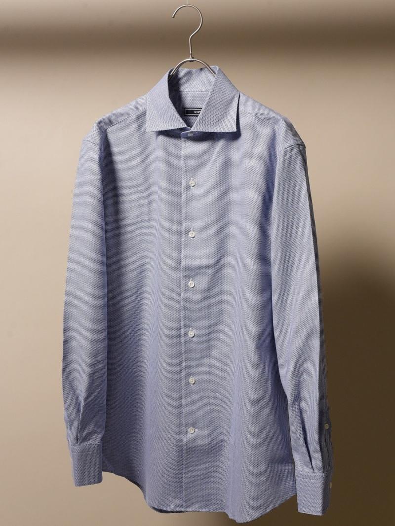 SHIPS SD:【MONTI社製生地】カラミワンピースカラーシャツ シップス シャツ/ブラウス 長袖シャツ ネイビー ホワイト ブルー【送料無料】