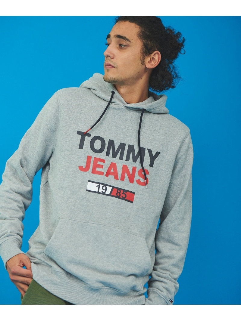 TOMMY HILFIGER (M)TOMMY HILFIGER(トミーヒルフィガー) Tommy Jeansロゴパーカー トミーヒルフィガー カットソー パーカー グレー ブラック ホワイト【送料無料】