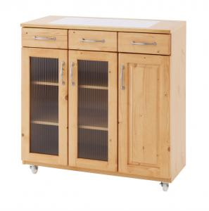 キッチンワゴン カウンターワゴン 補助テーブルシステムカウンター キッチン収納 収納庫日本製 ガラス扉仕様 幅87.5cm×奥行41.5cm