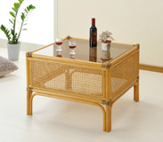リビングテーブル サイドテーブル コーナーテーブル籐製センターテーブル ガラステーブル スクエアテーブル藤カゴメ編み仕様 5mm強化ガラス天板