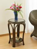ガラステーブル コーナーテーブル 花瓶台 飾り台籐製サイドテーブル フラワーテーブル ラウンドテーブル5mm強化ガラス天板 収納棚付
