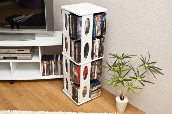 CD DVD Storage Rack DVD Rack Storage Rack 4 CD Rack Tower Rotating Rack AV  Rack Vertical CD Approximately 304 Sheet 128 DVD Storage White Color