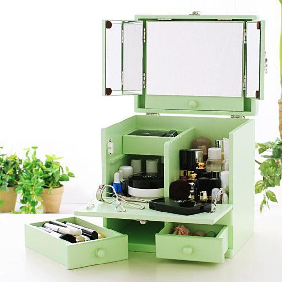 化粧ボックス メイク コスメボックス バニティーコスメボックス 三面鏡 メイクボックスパステルカラー ミントグリーン