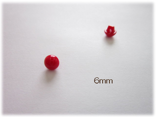 【半丸目玉ボタン】レッド・6mmあみぐるみやぬいぐるみの目にいかがですか♪/山高/羊毛フェルト/
