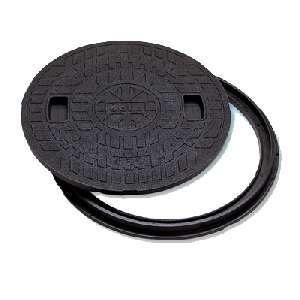 軽い 強い 錆びない 超激安特価 マンホールカバー 物品 丸枠付 ロック式 樹脂製 JM-500B-1 城東テクノ 500型