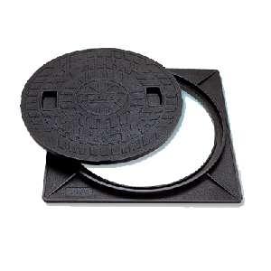 マンホールカバー 角枠付 樹脂製 耐圧2トン(ロックなし) 450型 JT2-450A-2 城東テクノ