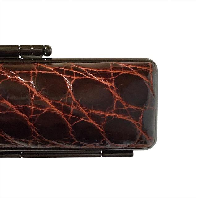 腹ワニ革印鑑ケース直径18ミリ長さ60ミリ用 1.8センチ×6センチ赤茶皮(レッドブラウン)黒色枠 鶴亀刺繍 朱肉付本鰐皮革レザー わに