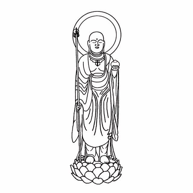 スタンプ 地蔵菩薩(じぞうぼさつ)縦120×横40ミリ(12×4センチ)ゴム印