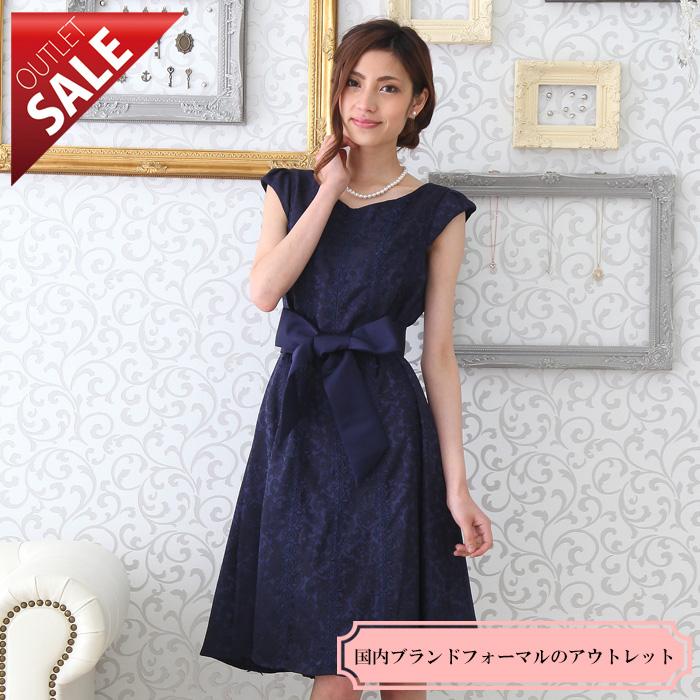 【62%OFFセール】結婚式 二次会 袖あり ドレス レース素材のフレアドレス9号(ネイビー)
