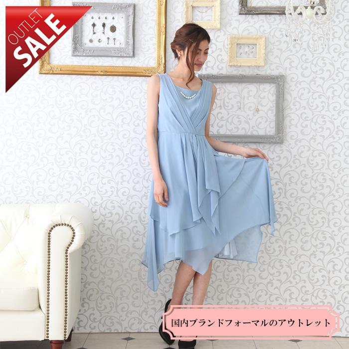 【70%OFFセール】パーティー結婚式二次会ドレスミディ丈|ランダムデザインミディドレス11号(ライトブルー)