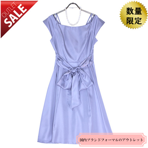 【78%OFF!】日本製ドレス結婚式お呼ばれ二次会 上品ラインのフレアドレス13号(ライトブルー)