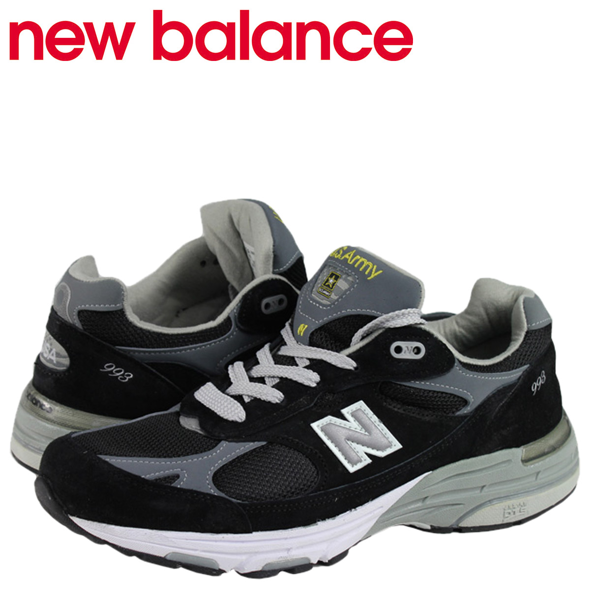 new styles 73fd0 6696c New Balance new balance women sneakers MILITARY PACK #WR993ARM black black  2A Wise leather shoes military pack army US ARMY MADE IN USA Lady's men
