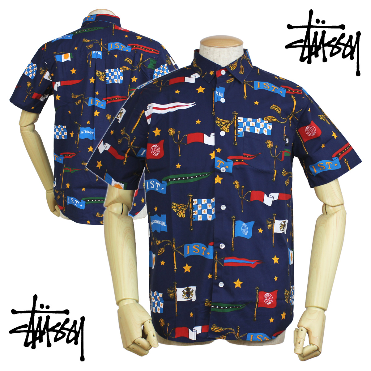 Sugar Online Shop  Stussy STUSSY mens shirt short sleeve button shirt with  the FLAGS SHIRT  8 19 new in stock   8a913ca4785