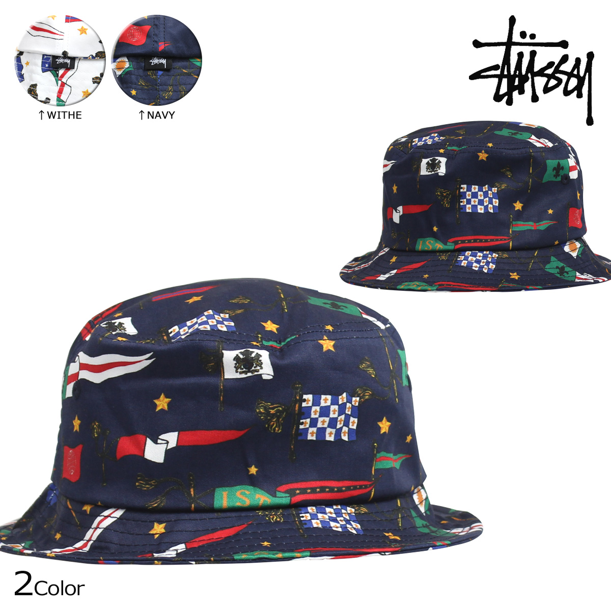Stussy STUSSY mens bucket hats-hats FLAGS SU15 BUCKET HAT  8 18 new in  stock  8ad8546293d