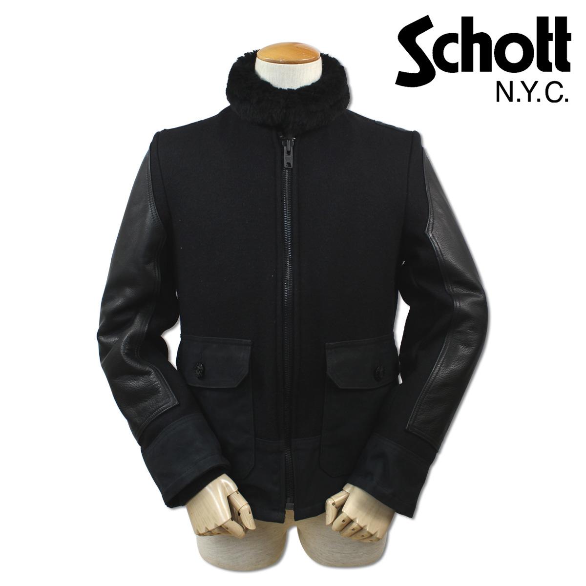 Schott ショット ボンバージャケット レザージャケット ブルゾン PERFECT SLEEVE LEATHER JACKET メンズ