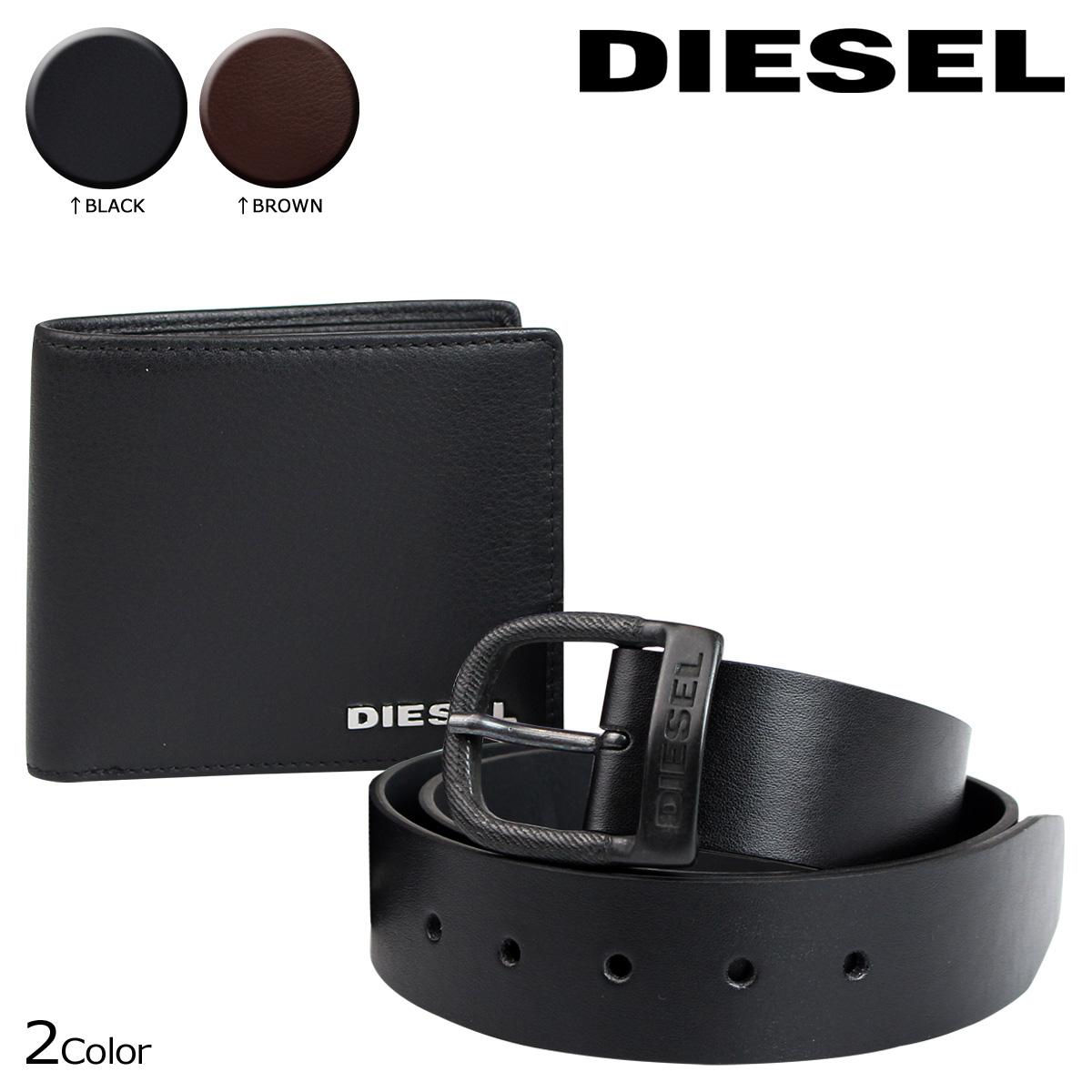 DIESEL 財布 ベルト ディーゼル 二つ折り財布 レザーベルト セット X03776 PR013 メンズ