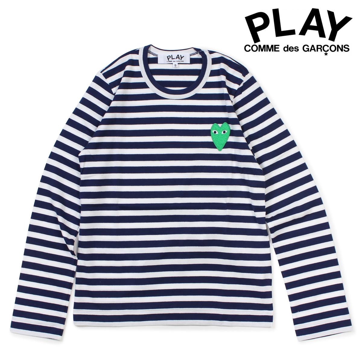 COMME des GARCONS PLAY Tシャツ 長袖 コムデギャルソン レディース HEART LS T-SHIRT ボーダー カットソー AZ-T051 ホワイト